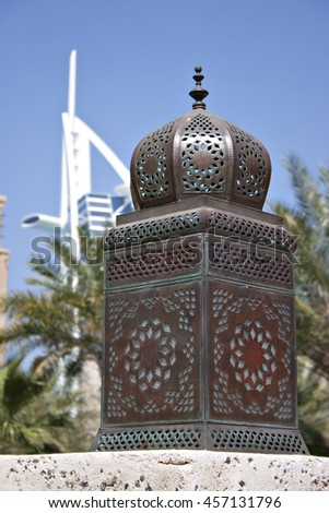A traditional Arabian lantern or lamp in Dubai. - stock photo