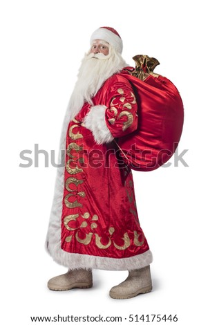 A traditional Christmas Santa Clause with staff isolated on white background