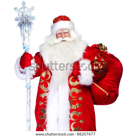 A traditional Christmas Santa Clause with staff isolated on white background. Full length isolation - stock photo