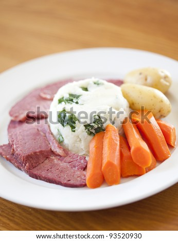 A Traditional Corned Beef Dinner on a table - stock photo