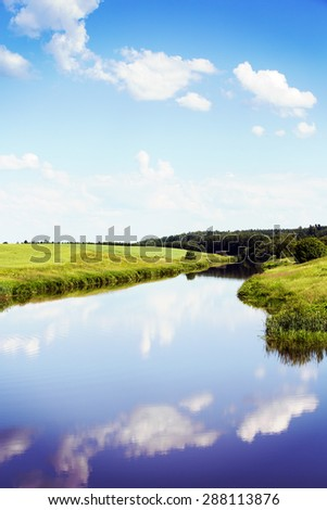 A traditional Finnish landscape during the summer time. Image has instagram and vintage effect. - stock photo