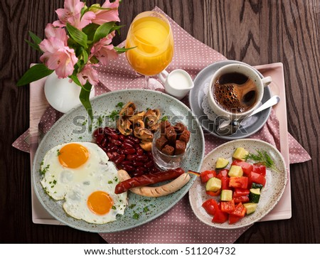 A traditional German breakfast on wooden table