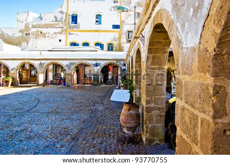 A traditional market in the old portuguese city of Essaouira, Morocco - stock photo