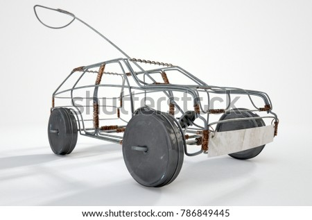 A traditional south african handmade wire toy car made out of metal and copper wire with tin cans as wheels on an isolated background - 3D render