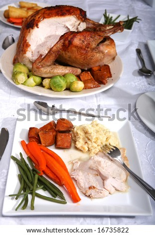 A traditional thanksgiving dinner of turkey, candied carrots, green beans, oven-baked glazed sweet potato chunks and twice-cooked creamed mashed potato - stock photo