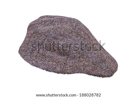 A Traditional Tweed Flat Cap Isolated on a White Background - stock photo