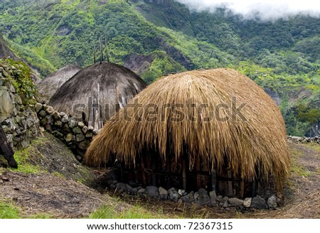 A traditional village in Papua, Indonesia - stock photo