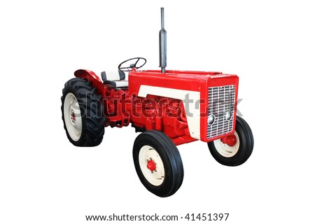 A Traditional Vintage Red Agricultural Farming Tractor.