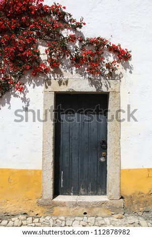 A traditional white washed style wall and doorway in Obidos Portugal