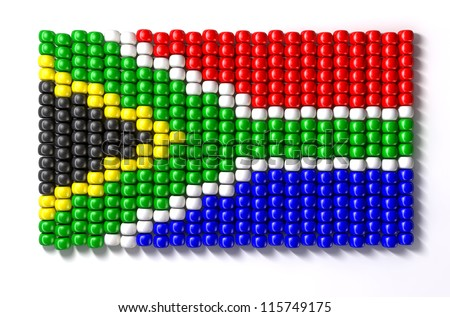 A traditional zulu beaded south african flag on an isolated background