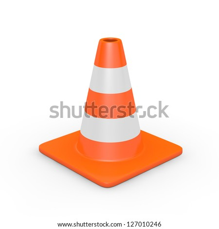 A traffic cone isolated on white (3D render) - stock photo