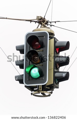 a traffic light with green light. symbolic photo for free travel, and economic success - stock photo