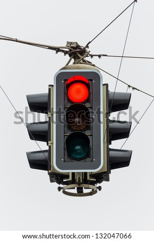 a traffic light with red light. symbolic photo for maintenance, economy, failure - stock photo