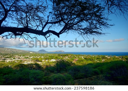 A trail to Diamond Head crater viewpoint on Oahu, Hawaii - stock photo