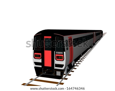 A train carriage on a railway track, 3d image