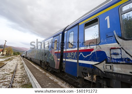 A train stopped in a railway station