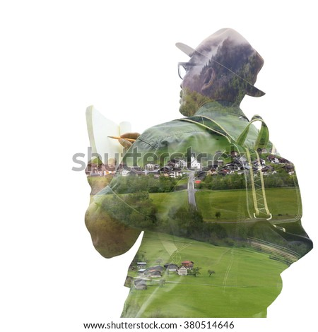A traveling man concentrate and appreciate in nature, double layers image technique . Image can use for tourism and traveling. - stock photo