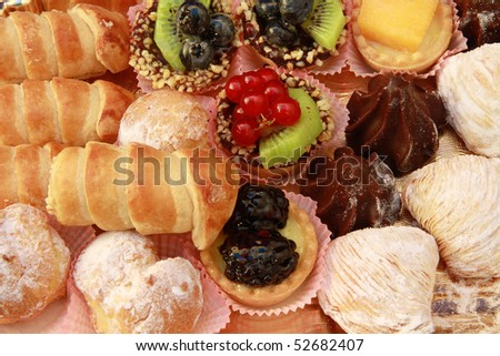 a tray of mixed pastry