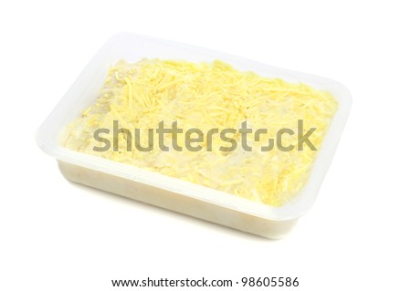 a tray with ready made cannelloni ready to be baked - stock photo