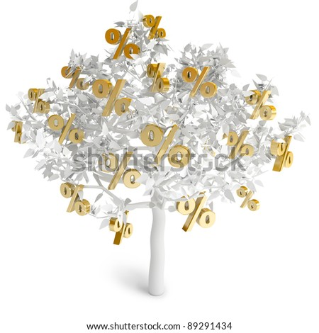 A tree growing percent, on a white background, 3d render - stock photo