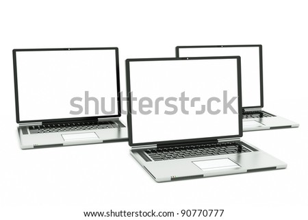 a tree laptops with white screens isolated on white, put your own picture inside - stock photo