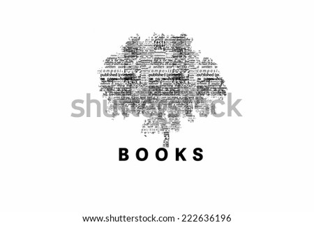 "A tree made of black words on a white background with ""Books"" as a title - word could   - stock photo"