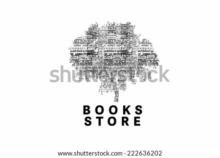 "A tree made of black words on a white background with ""Books Store"" as a title - word could   - stock photo"