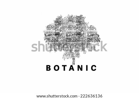 "A tree made of black words on a white background with ""Botanic"" as a title - word could   - stock photo"