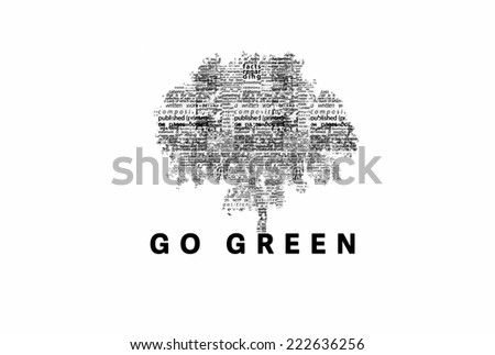 "A tree made of black words on a white background with ""Go Green"" as a title - word could   - stock photo"