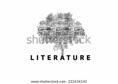 "A tree made of black words on a white background with ""Literature"" as a title - word could   - stock photo"