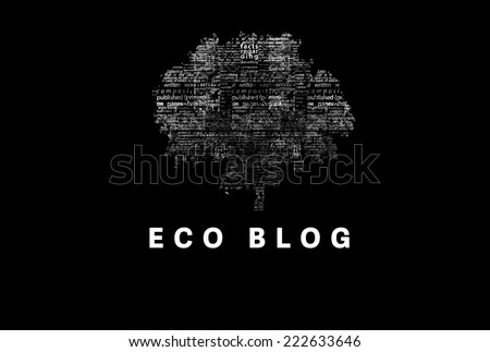 "A tree made of white words on a black background with ""Eco Blog"" as a title - word could  - stock photo"
