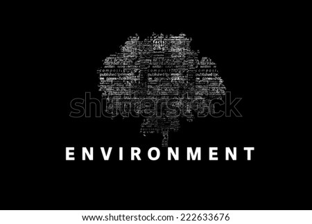 "A tree made of white words on a black background with ""Environment"" as a title - word could  - stock photo"