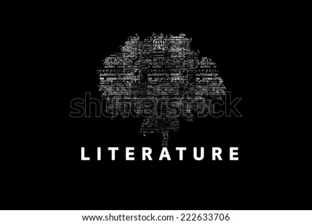 "A tree made of white words on a black background with ""Literature"" as a title - word could  - stock photo"