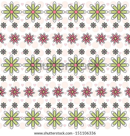 A Trendy Illustrated Pink and Green Symmetrical Flower Pattern - stock photo