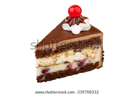 A triangular piece of cake on a white background - stock photo