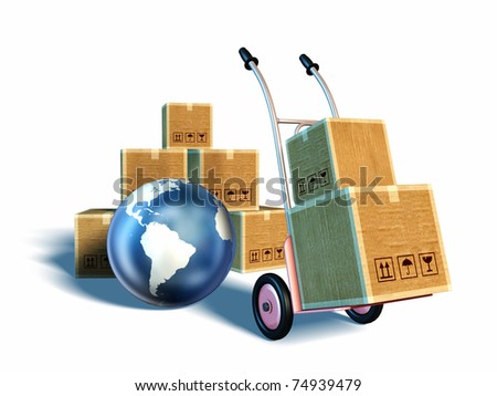A trolley carrying some boxes. A pile of boxes and an iconic Earth on background. Clipping path included. Digital illustration. - stock photo