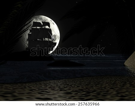 A tropical beach at night moonlight under starry sky, with palm trees and a sailboat - stock photo