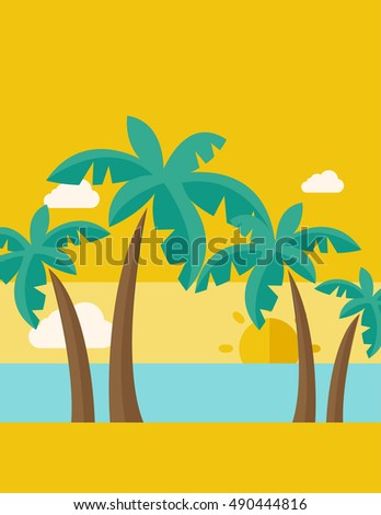 A tropical beach with cloud and sunset. A Contemporary style with pastel palette, dark yellow tinted background.  flat design illustration. Vertical layout.
