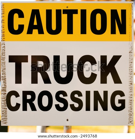 A truck crossing sign