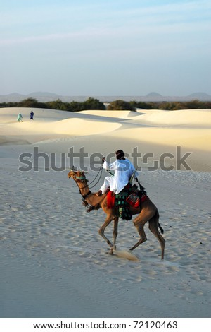 A Tuareg nomad riding his camel in the Sahara desert with two women in the background - stock photo