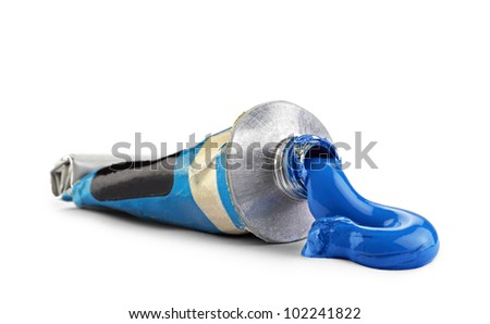 A tube with blue oil paint, clipping path - stock photo