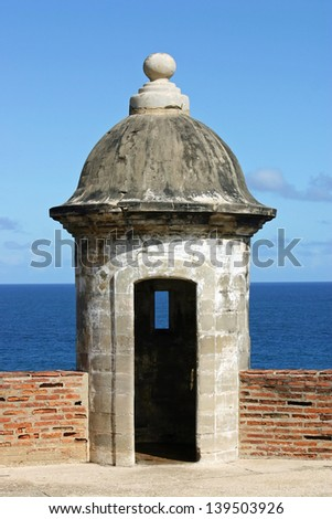 A turret in the Castillo de San Juan, in San Juan, Puerto Rico - stock photo