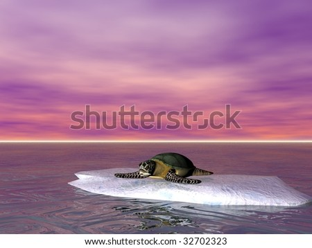 A turtle illustration concept of global warming on earth - stock photo