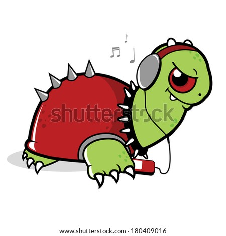 A turtle listening to music on his MP 3 player. Vector version also available in my gallery. - stock photo