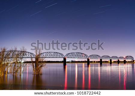 A twilight / blue hour view of the historic Brookport Bridge, which carries US 45 over the Ohio River between Brookport, Illinois and Paducah, Kentucky.