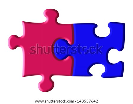 A two piece jigsaw, one piece blue and one pink suggesting a close bond between a man and a woman, in fact a perfect fit with space for the addition of names.