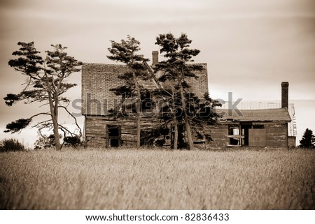 A Typical Abandoned, Run Down House Of Prince Edward Island Canada, PEI