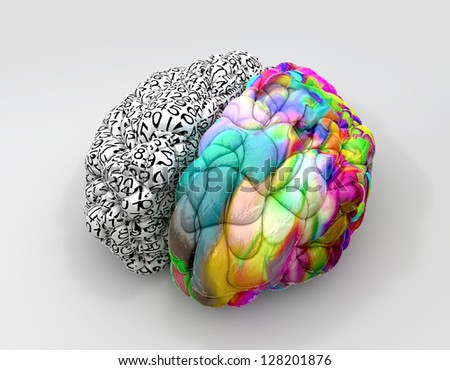 A typical brain with the left side depicting an analytical, structured and logical mind, and the right side depicting a scattered, creative and colorful side on an isolated background - stock photo
