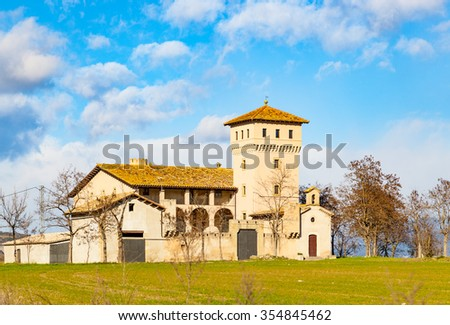 A typical Catalan farmhouse called masia in the Vic region, Spain - stock photo