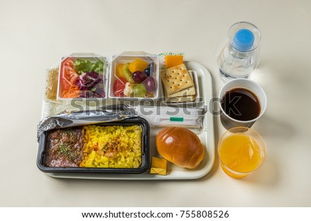 A typical flight meal of the international economy class5